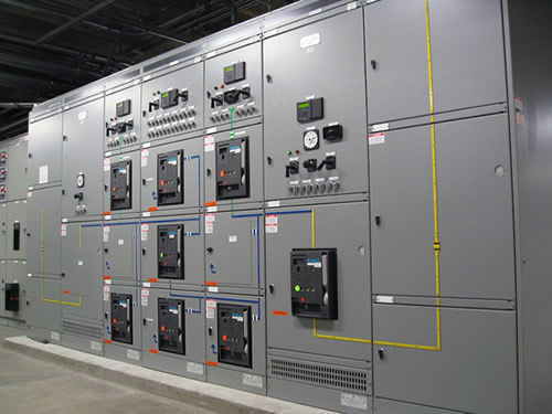 Large bank of Square D switchgear